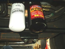 BMK-17 Dual Remote Bypass Filter system installed on 2002 GMC Sierra with Duramax Diesel engine and Allison transmission.