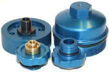Billet Aluminum Blue Anodized installation parts for AMSOIL bypass oil filter installations