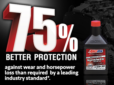 AMSOIL synthetic motor oils provide 75% Better Protection